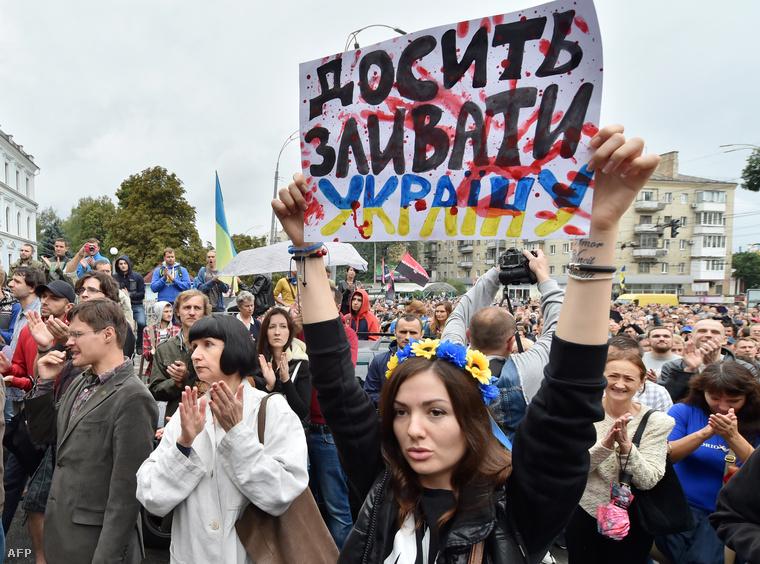 Tiltakozók Kijevben, 2014. augusztus 28-án.