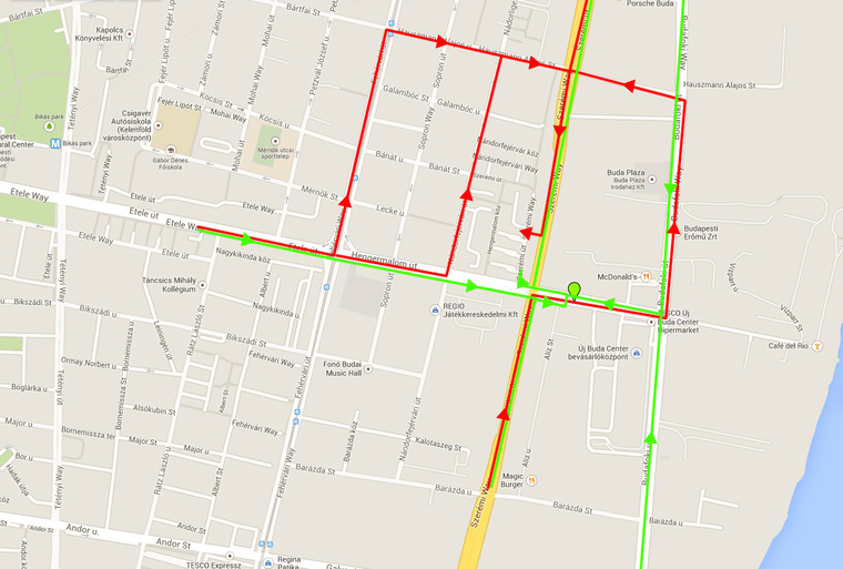 Zölddel jelöltük a Szerémi úthoz vezető útvonalakat a felújítás előtt. Pirossal láthatják, hogy merre kell kerülniük a lakóknak a felújítás után.