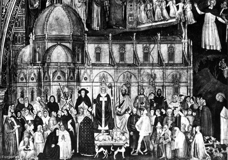 XI. Ben pápa, a jobbján I. Eduárd