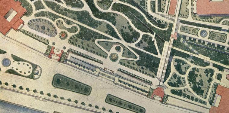 A Neoreneszánsz kert és az Öntőház udvar a Várbazár helyszínrajzán a XIX. század végén