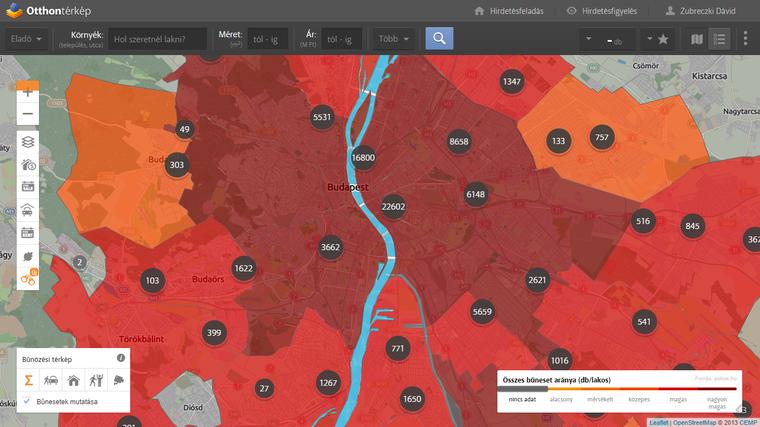 Budapest bűnözési térképe. Utcaszintű adatokért és az egyes típusokért (autófeltörés, lakásbetörés, személy elleni stb.) kattints a képre!