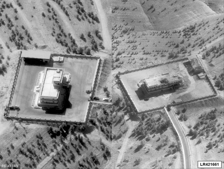 Az Iszlám állam egyik szíriai főhadiszállása, mielőtt és miután amerikai F22-esek bombázták szeptember 23-án napközben