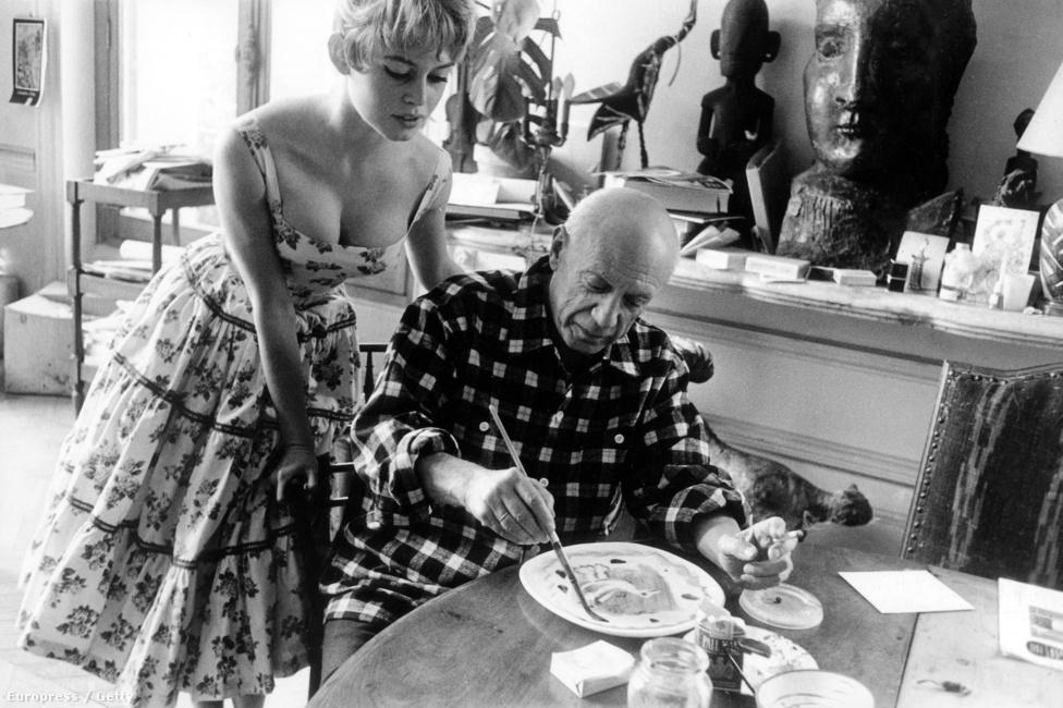 Pablo Picassóval az 1956-os Cannes-i filmfesztivál alatt.