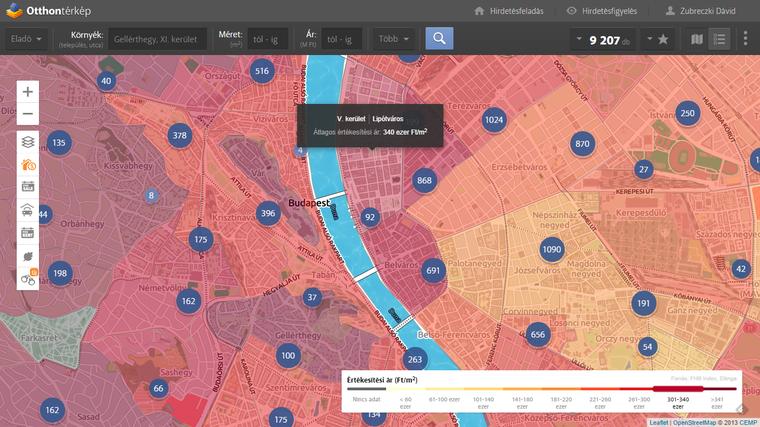 Értékesítési árak a Városmag városrészeiben. Részletes adatokért kattints a térképre!