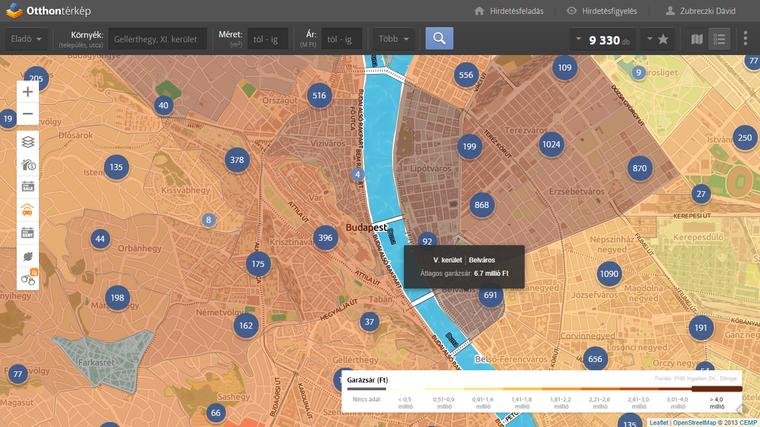 Garázsárak a városmag városrészeiben. Részletes adatokért kattints a térképre!