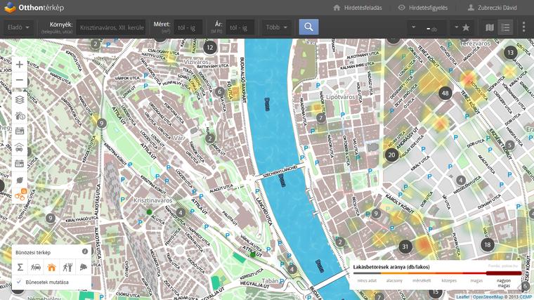 Bűnözési statisztikák a városmag városrészeiben. Utcaszintű részletes adatokért kattints a térképre!