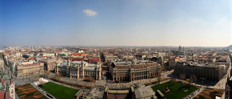 Lipótváros a Parlament tetejéről