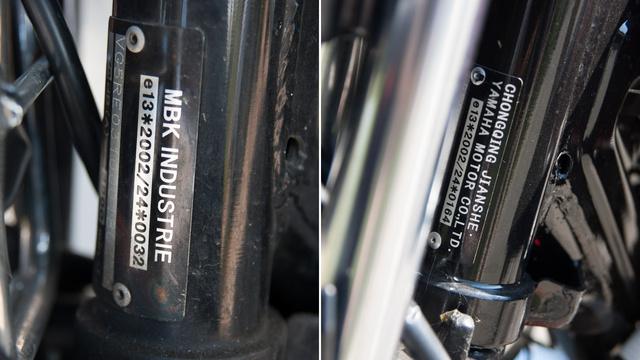 Bár a futár azt hitte, hogy kínai gyártású az YBR-je, valójában az MBK szerepel a típustáblán, vagyis francia