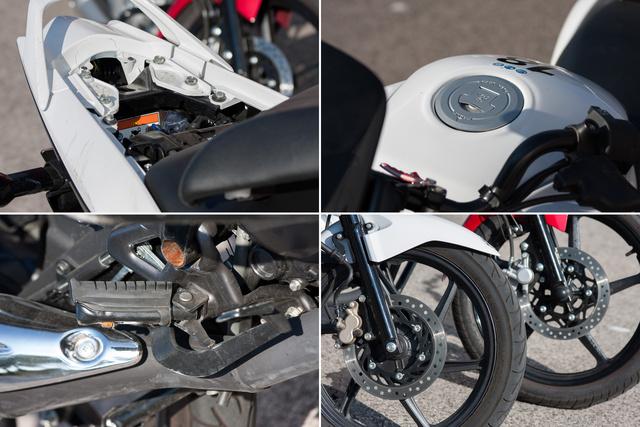 A Honda CBF125 erősségei: apró tárolóhely az ülés alatt, a normális tanksapka, a felhejló lábtartó és a kétdugattyús fék