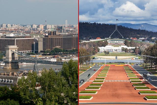 Budapest (balra) és Canberra (jobbra)