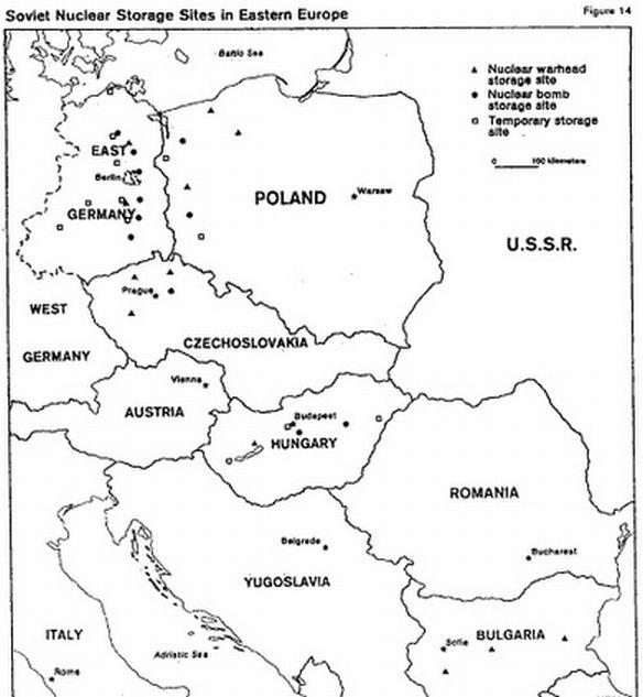 Atomfegyver tároló bázisok a CIA korabeli térképén. Kunmadaras is ott van.