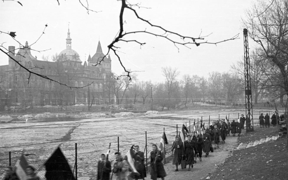"""1956. december 4-én több ezer nő tartott néma tüntetést a Hősök terénél az egy hónappal korábbi szovjet bevonulás és a forradalom erőszakos leverése ellen tiltakozva. Az """"asszonyok tüntetése"""" egyfajta magyar Indignados mozgalomként az egyik legmegrendítőbb protestálás volt az elnyomással szemben. A Műcsarnoknál szovjet páncélautók állták el az asszonyok útját, ezért hátulról, a Városligeti tónál kerültek, hogy eljussanak a Névtelen katona emlékművéhez. Akadt, aki bevásárlókocsival, más babakocsival, de olyan is volt, aki tolókocsival jött. Esett az eső, """"A magyar anyák – hőseinknek"""" feliratot lemosta a víz a síremlékre tett papírlapról."""