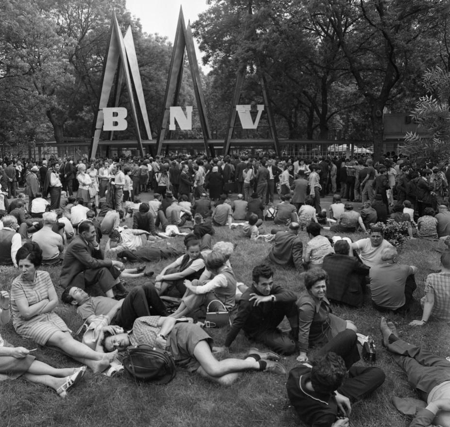 A magyar nép türelmesen várja, hogy megnyíljanak előtte a fogyasztás kapui. A Szinyei Merse Pál Majálisát a létező szocializmus sorbanállás-kultúrájával vegyítő '74-es jelenet a monstre városligeti vásárok záróepizódja, a következő évtől a BNV-k az új kőbányai vásárvárosba mentek át.