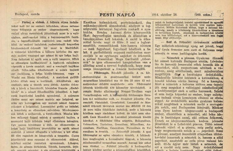 Olvasson bele a 100 évvel ezelőtti újságba az Arcanum archívumában - kattintson a képre!