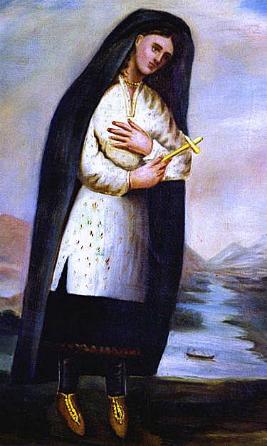 Kateri Tekakwitha arcát a festményen nem csúfítják el a hegek
