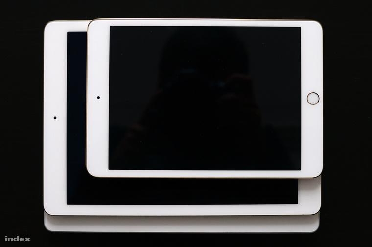 iPad Mini 3, iPad Air 2 és iPad 4 egymáson. Az iPad Mini 3 annyira nem izgalmas, mert nem újult meg: csak TouchID-s gombot kapott és gyárilag iOS 8-as rendszert. A kijelzője is a régi, kicsit mélyebben ül, mint az iPad Air 2-é