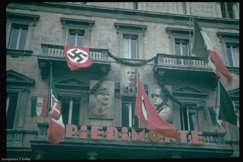 Utcai díszítés Rómában, Hitler látogatása idején, 1938.