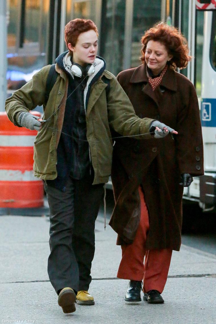 Elle Fanning és Susan Sarandon a Three Generations című film forgatásán november 18-án.