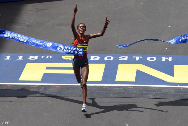 Rita Jeptoo a Boston Marathonon, 2014. április 21-én.