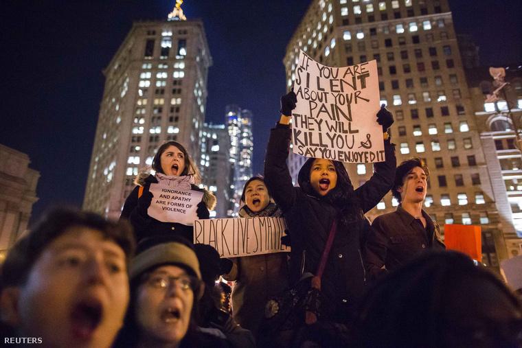 Demonstráció New Yorkban, 2014. december 4-én.
