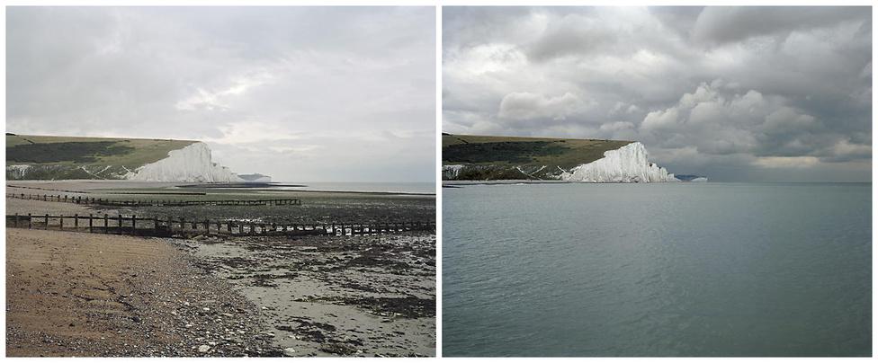 Gyorsan elmondjuk, hogy ezek nem Dover fehér sziklái, hanem a Hét Nővér a Sussex-i Cuckmere folyó tengermosta torkolata mellett.