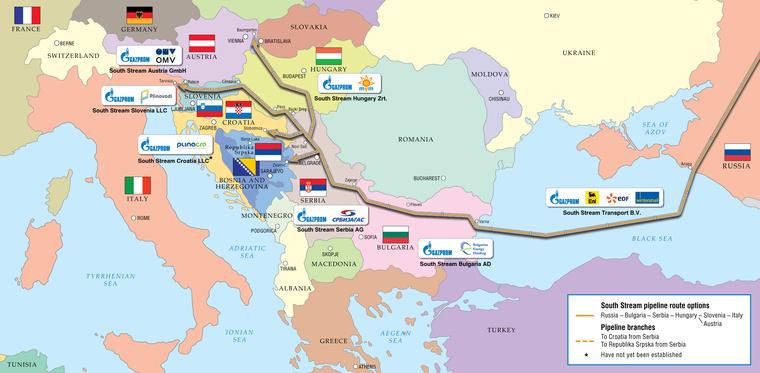 A Déli Áramlat gázvezeték tervezett útvonala, és a befektető cégek országonként