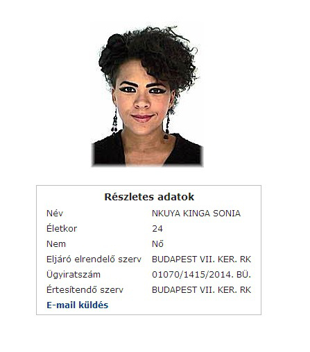 Nkuya Sonia korábbi körözési fotója