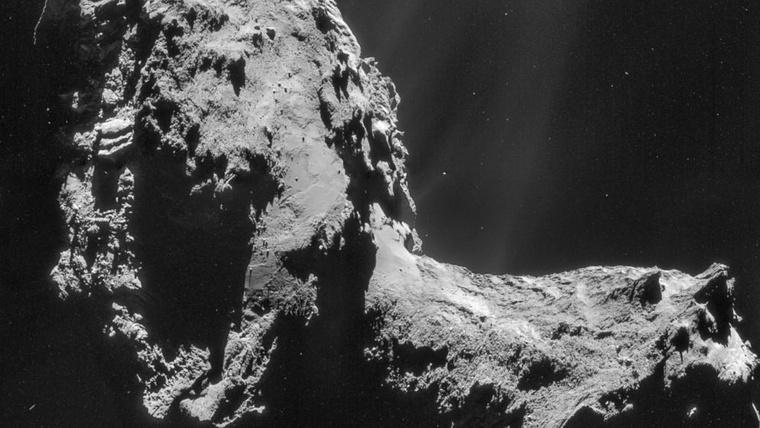 A 67P/Csurjumov-Geraszimenko üstökösön felszíne a Rosetta űrszonda leszállóegysége által készített felvételen