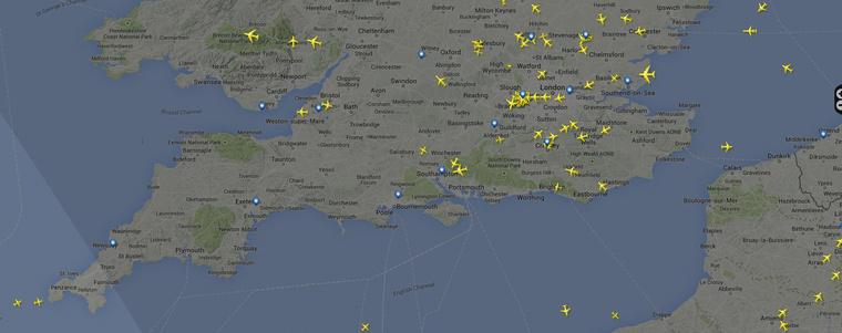 A Flightradar aktuális állása 17:40-kor