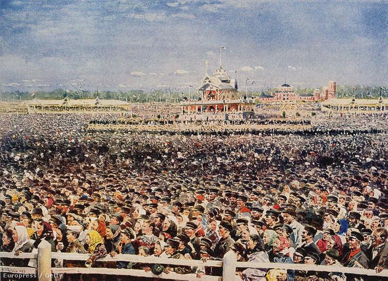 Tömeg aHodinka-mezőn,Vlagyimir Jegorovics Makovszkij festménye