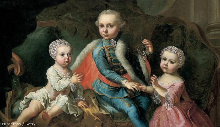Johann Georg Weickert olajfestménye az három Esterházy gyerekről, 1771-ből