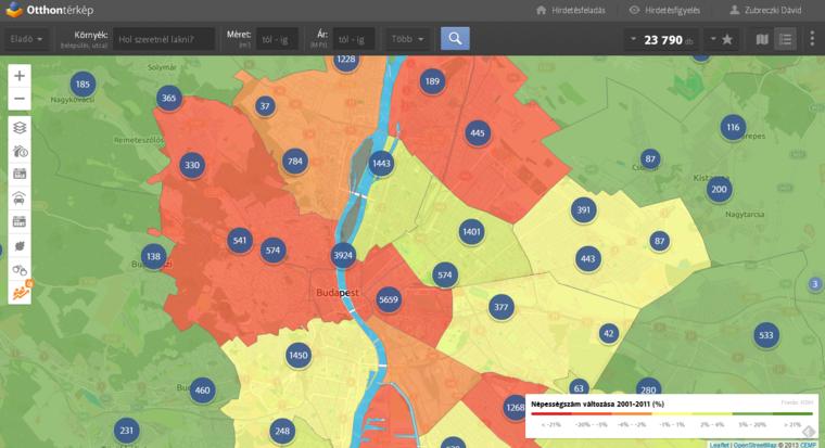 A lakosságszám változása Budapesten. A részletekért kattints a térképre