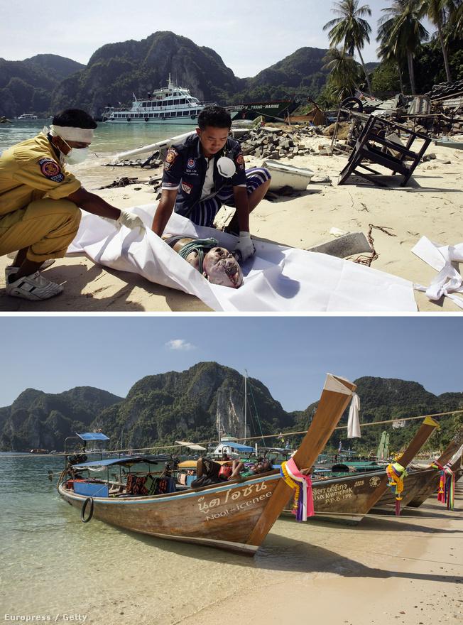 Thai mentőalakulatok takarják le egy kisgyerek holttestét Phi Phi falunál. Sokszor azonban minden igyekezet ellenére sem tud még mindig elég gyors lenni a rendszer. Volt olyan, hogy a pusztító hullámok már 5 percnél is gyorsabban elértek lakott vidékeket, a 800 kilométer per órás sebességgel érkező cunami így megelőzte az előrejelző rendszereket.