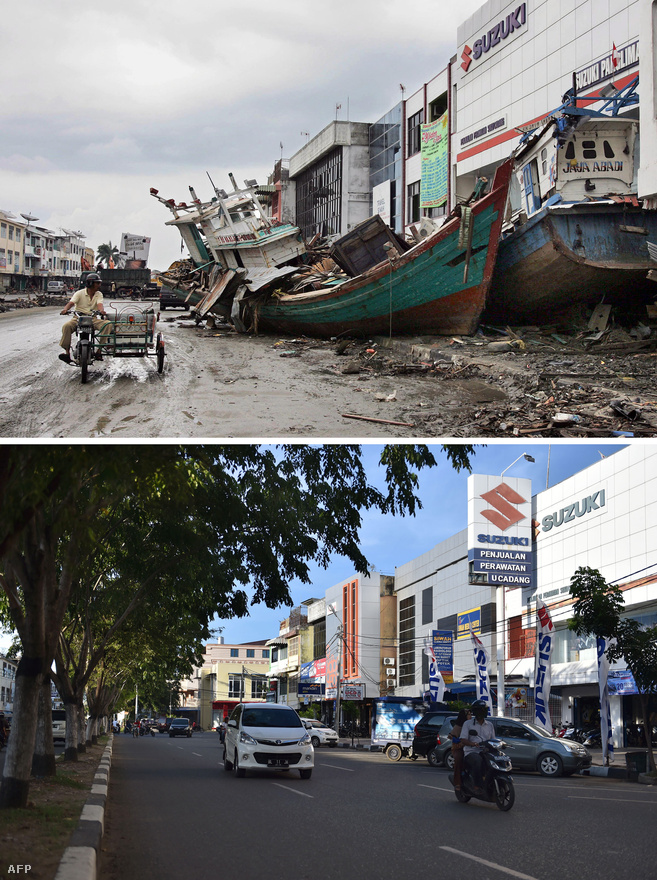 A hullámok a partoktól messzire sodortak épületeket, autókat, hajókat. Egy-egy csónak azóta is örök mementóként emlékeztet egy parttól távoli ház mellett a borzasztó pusztításra. Ezt a nagyobb halászhajót viszont azóta már elszállították az utca közepéről.