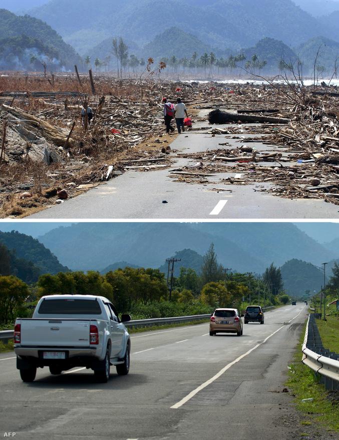 A legfontosabb tengerparti út teljesen járhatatlan volt a katasztrófa után Acehben. Ma már újra zöldellő fák szegélyezik az utat. 2004-ben úgynevezett szubdukciós rengés következett be, egy törésvonal mentén két tektonikus lemez egymásnak ütközött, és az egyik begyűrődött a másik alá. Az ilyen rengéseknél a földkéreg óriási darabjai mozdulnak el függőlegesen és oldalirányban egyaránt, megmozdítva a felettük levő, akár több ezer méter vastag víztömeget is. Kinn a nyílt vízen a hullám esetenként csak néhány centi magas, de a sekély vízbe érve már több tíz méter magasan is tornyosulhat.