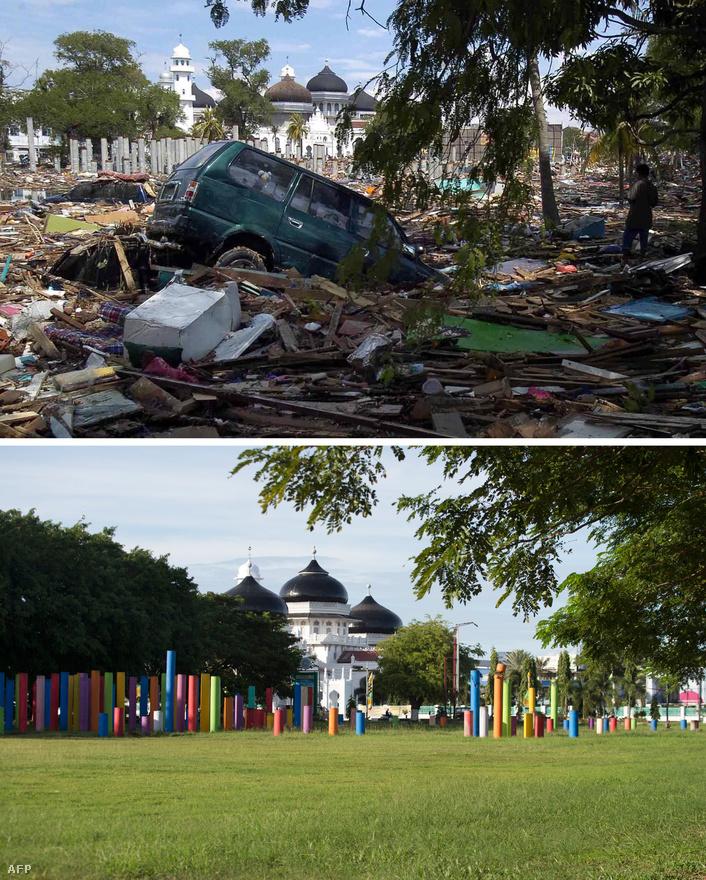 Mindenhol törmelékek és megrongálódott autók 2004-ben, egy nappal a cunami elvonulása után – majd ugyanez a táj most november végén. Az indonéz szigetvilág az úgynevezett csendes-óceáni tűzgyűrűn fekszik több kontinentális lemez találkozásának sávjában. A térségben ezért rendkívül erős a vulkáni tevékenység és gyakoriak a földrengések.