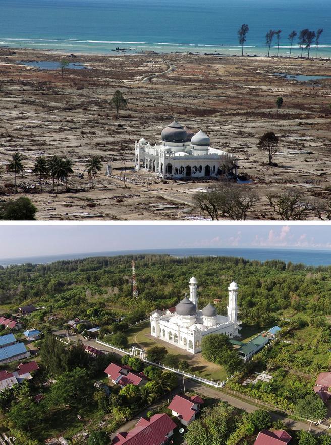 Egyedül egy megrongálódott mecset maradt állva a cunami pusztítása után, a hullámok mindent letaroltak az indonéziai Banda Aceh tartománynak ezen a részén. Tíz évvel később a vidék újraéledt, megint zöldellő fák, házak magasodnak a környéken.