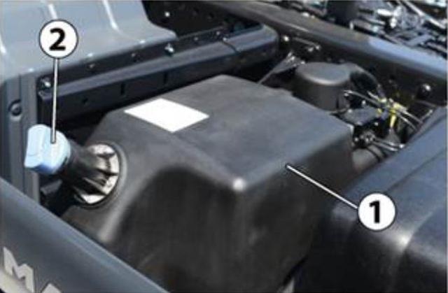 Milyen gyakran kell a tehergépkocsi képen látható 1-es jelű AdBlue tartályát a tüzelőanyagtályhoz viszonyítva tölteni?