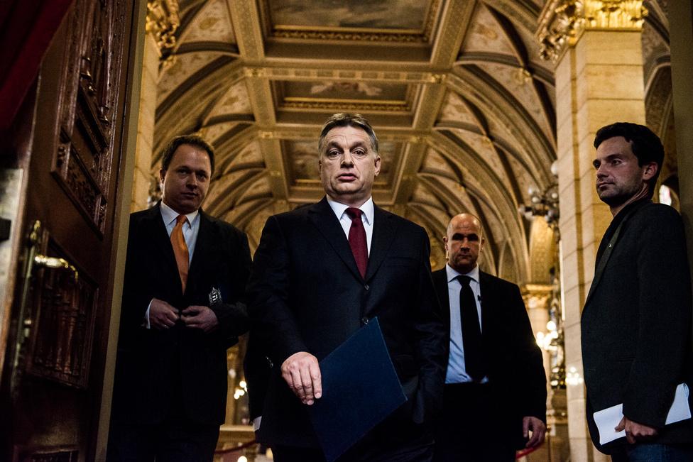Orbán Viktor az előző napi kétharmados választási győzelme után megérkezik sajtótájékoztatójára a Parlamentbe. Ez az év a választások miatt a magyar belpolitikáról szólt, és bár én az év meghatározó részét a magyar puszta fotózásával töltöttem, talán mégsem meglepő, hogy mégis Orbán Viktor egyik sajtótájékoztatója maradt meg bennem élénken. A frissen újraválasztott miniszterelnök rácsodálkozó tekintete miatt választottam ezt a képet, ami nem biztos, hogy a kiemelt sajtóérdeklődésnek szólt: amikor Orbán Viktor a terembe lépett, én közvetlenül elé, az első sor legszélére guggoltam be, a két méteremmel pedig elég komoly útakadálynak tűnhettem az ajtóval szemben.