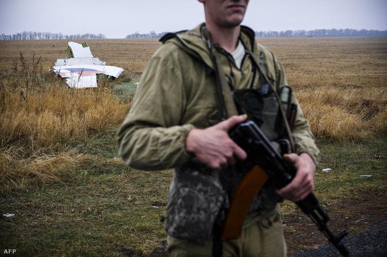Oroszpárti fegyveresek őrzik a lelőtt gép roncsait