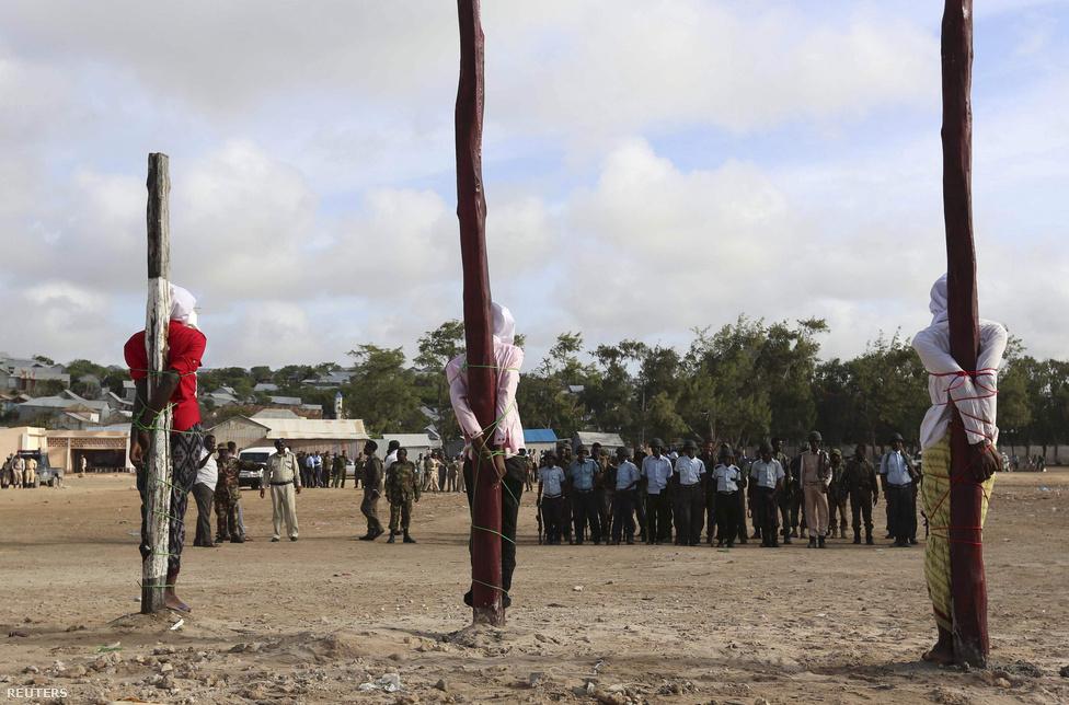 Egy szomáliai katonai bíróság bűnösnek talált három férfit, akik a vádak szerint civileket támadtak meg, és ők tervelték ki az elnöki palota elleni támadást is. Augusztus 3-án oszlopokhoz kötözték, és kivégezték őket.