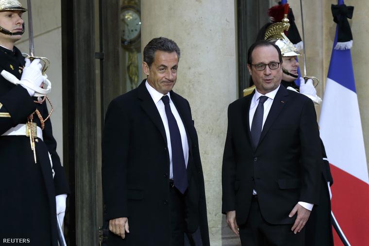 Nicolas Sarkozy és Francois Hollande Párizsban, 2015. január 8-án.