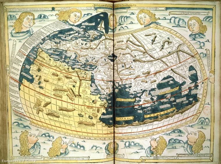 Ptolemaiosz térképe, fametszet 1482-ből.