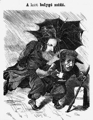 Jókai és Horn Ede a Borsszem Jankó karikatúráján
