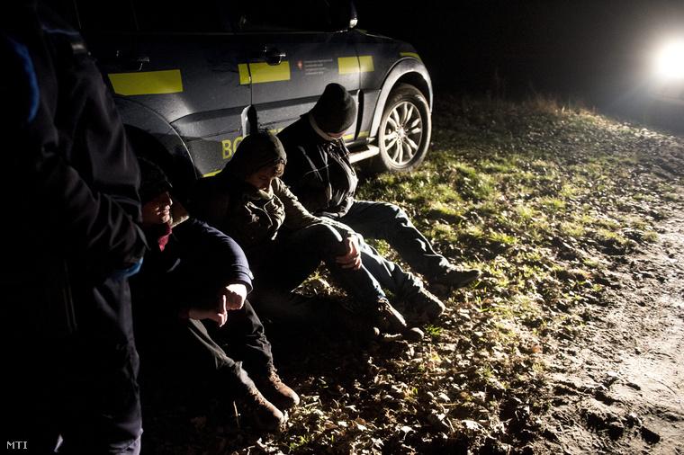 Rendőrök és polgárőrök által elfogott, Szerbia irányából érkező illegális határátlépők Röszke határában 2015. január 9-én. A menekültek embercsempészek segítségével lépik át Magyarország határát amely egyben az EU schengeni határvonala is.