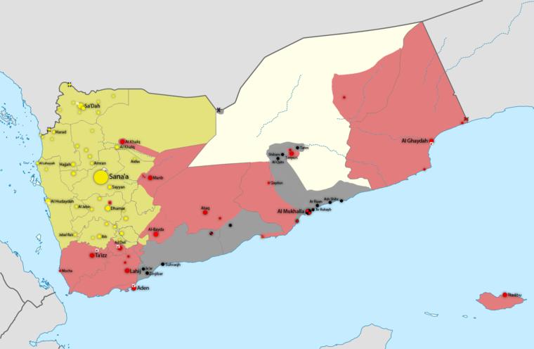 Zölddel a húszik, pirossal a jemeni kormányerők, feketével az AQAB (a jemeni al-Kaida) által január 15-én uralt területek