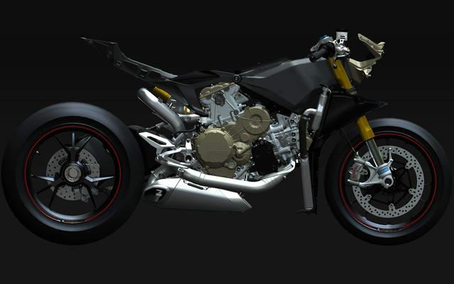 A Ducati 1199 Panigale pucéran. Itt már leszámoltak a hagyományos vázzal, lényegében segédváz sincs, minden karbon elemekkel kapcsolódik a blokkhoz. Mielőtt bárki kérdezné: piszok merev, piszok drága