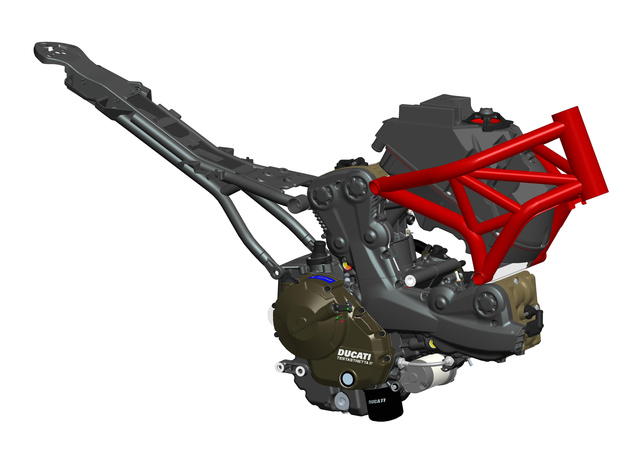 Ducati Monster 821. Látszik, hogy a blokk már maga a váz, ahhoz kapcsolódik hozzá az ülést tartó segédváz és a központi rugóstag. Maradt azért némi térháló is, az első futómű, a kormányzás és a tank azzal kapcsolódik össze