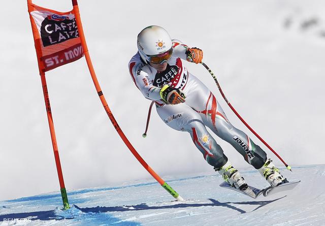 Miklós Edit a St. Moritz-ban zajló alpesi sí világbajnokságon, 2015. január 24-én.