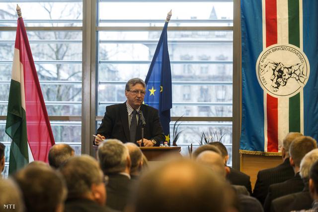 Hegedűs Csaba a Magyar Birkózó Szövetség elnöke beszél a szövetség tisztújító közgyűlésén Budapesten a Magyar Sport Házában 2015. január 30-án.